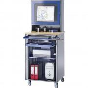 RAU Computer-Arbeitsplatz HxBxT 1820 x 720 x 660 mm, mit Monitorgehäuse, fahrbar anthrazit-metallic / enzianblau