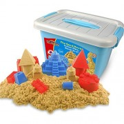 Motion Sand, 2.2lb., Deluxe Bucket, Castle Set, Play Sand with Color Sand Molds, 1000g Sand Inclued