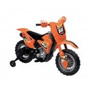 MOTOCICLETA ELECTRICA PENTRU COPII ENDURO MOTOCROSS 6V PORTOCALIE CU TELECOMANDA CONTROL PARINTE - GLOBO (GL39357)