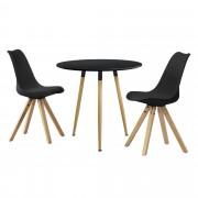 [en.casa]® Set de comedor mesa redonda negra [Ø80cm] con 2 sillas negras tapizadas