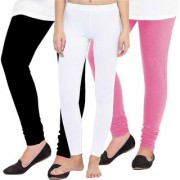 Woolen Leggings for Women Winter Bottom Wear Combo Pack of 3 (Black White and Baby Pink) - Free Size