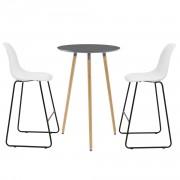 Комплект кръгла дизайнерска бар маса с 2 стола, Тъмносив/Бял