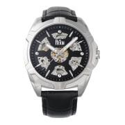 【75%OFF】Carlisle スケルトン 型押しレザーベルト ウォッチ ブラック/シルバー ファッション > 腕時計~~メンズ 腕時計