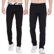 Cliths Pack of 2 Cotton Trackpants For Men/ Sport lowers For Men (Black Red Black White)