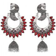 Desire Collection Meena Meenakari German Silver Earring Peacock Design Oxidised Silver Plated Jhumka Jhumki Earrings