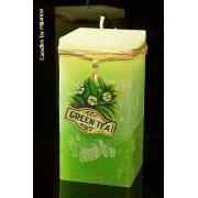 kaarsen: Groene Thee kaars, Rechthoek, H: 14 cm