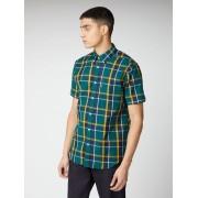 Ben Sherman Signature Textured Check Shirt Medium DK GREEN