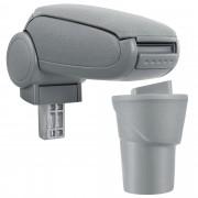 [pro.tec]® Lakťová opierka pre Nissan Micra K13 - lakťová opierka - s odkladacím priestorom - tkanina - sivá