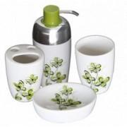 Set baie portelan 4 piese dozator sapun sapuniera suport periute dinti pahar cu dcor flori