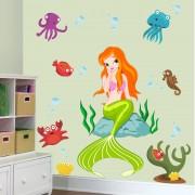Stickere perete copii Frumoasa sirena - 110 x 120 cm