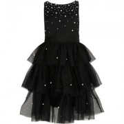 River Island Girls Black tulle tiered skirt pearl dress