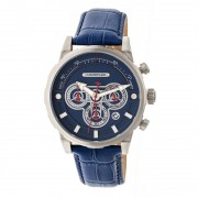 Morphic M60 Series Chronograph Leather-Band Watch w/Date - Silver/Blue MPH6002
