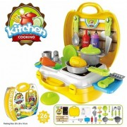 Oh Baby branded kitchen set Chef's Bring Along Kitchen Pretend Play Toys Suitcase Set (Yellow) FOR YOUR KIDS SE-ET-276