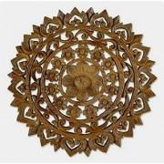 Shilpi Handmade Wooden Wall Hanging Jali Plaque 36X36 Flower Leaf Design Wall Decor Panel