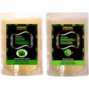 Donnara Organics 100% Natural Neem Powder and Bhringraj powder Combo pack of 2 of 150 gms(300 gms)
