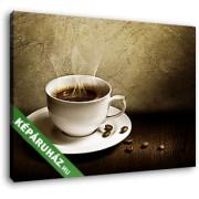 Egy csésze gőzölgő kávé (35x25 cm, Vászonkép )