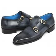 Paul Parkman Cap Toe Double Monk Strap Shoes Navy 045NVY62