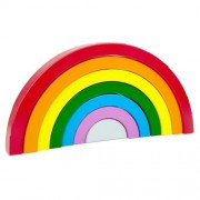 Curcubeu lemn, set creativ 7 piese. Jucarie Montessori si Waldorf. Rainbow building blocks.