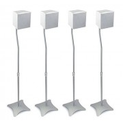 Mount-it! SILVER- Set of Four (4 Total)Universal Satellite Surround Sound Home Theater Theatre Speaker Stands for fits most Bose JBL Klipsch Yamaha Sony JVC Speakers Great Low Profile Design