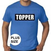 Bellatio Decorations Grote maten Topper in kader t-shirt blauw heren
