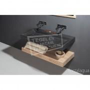 Forzalaqua Bellezza Wastafel 80 cm Hardsteen Gezoet 80,5x51,5x9 cm 1 wasbak zonder kraangaten