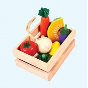 Wooden Vegetable Crate - Wooden Toys - Brainsmith - Early Learning - Life Skills - Pretend Play - Imagination - Role Play toys - Story telling Activity - Creativity building - Kitchen Set - Birthday gift - Return Favour - Play and Learn - Child safe toys