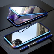 LUPHI Magnetic Installation Metal Frame + Tempered Glass Protective Shell for iPhone 11 Pro Max 6.5-inch - Blue
