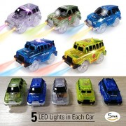 Tornadoz [5-Pack] Light-up Track Race Car Toy | 4X4 Racing Cars W/ 5 Led Lights Independent & Play Compatible with Most Tracks Including Magic Tracks, Neo Twister Boys and Girls