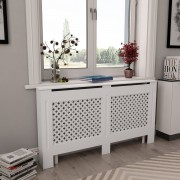 vidaXL Параван за радиатор, бял, 152x19x81,5 см, МДФ