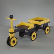 Kids Wooden Riding Toy, Wood Ride On Scooter, Personalizable - Blue and Yellow Scooter With Wagon