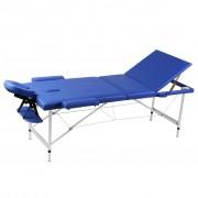 vidaXL Алуминиева масажна кушетка с 3 зони, цвят: син