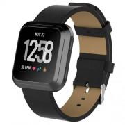 Okosóra szíj - FEKETE - valódi bőr, 124mm+98mm hosszú, 23mm széles - Fitbit Versa / Fitbit Versa Lite / Fitbit Versa 2