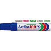 Permanent marker ARTLINE 100 corp metalic varf tesit 7.5-12.0mm - albastru