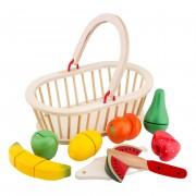 New Classic Toys Ensemble de coupe en bois corbeille de fruits