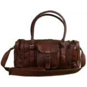 Pranjals House (Expandable) genuine leather duffle cum gym bag Travel Duffel Bag(Brown)