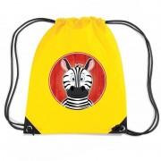 Bellatio Decorations Zebra dieren trekkoord rugzak / gymtas geel voor kinderen