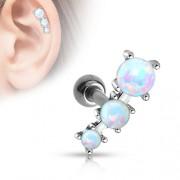Tragus piercing triple opal