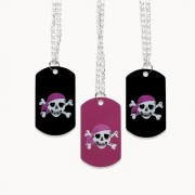 Pink Pirate Girl Dog Tag Necklaces (1 Dz)