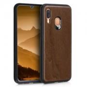 kwmobile Dřevěné pouzdro pro Samsung Galaxy A40 - tmavě hnědá