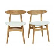 Miliboo Stühle skandinavisch helles Holz Weiß (2er-Set) WALFORD