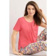 Womens Mia Lucce Pintucked Tee - Coral T-Shirt Sleepwear Nightwear