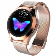 Ceas smartwatch KW10, Bluetooth, Metalic, Pedometru, Notificari, IP68, Gold