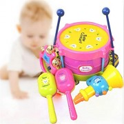 HATCHMATIC 5 PCS Novelty Kids Roll Drum Musical Instruments Bands Kit for Children Baby Kids Boys Girls Gift Set Fun Music Early Education: AS PIC
