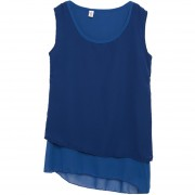 Blusa De Gasa Sin Mangas Para Mujer-Azul
