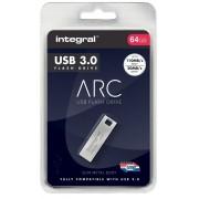 Integral USB 3.0 Flash Drive Metal Arc 64 GB Silver