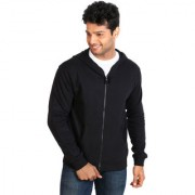 Campus Sutra Black Zipped Men Hooded Sweatshirt Option 1