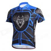 TOPCYCLING Hombre comodo de manga corta de poliester jersey superior para el ciclismo - azul + negro (XL)