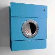 Radius Design Letterman 2 Briefkasten blau (RAL 5012) mit Klingel in blau ohne Pfosten
