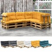 [en.casa]® 1x cojín de asiento para sofá- palé / para europalé [mostaza] cojín In/Outdoor - cojín acolchado - válido para exteriores