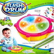 Flash Drum Musical Toy with 5 Visual 3D Lights, Music, 3 Game Modes for Kids, Multi Color